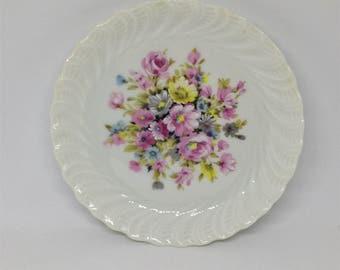 Vintage Goumot-Labesse Limoges Dish, Scalloped Candy Dish, French Porcelain Trinket Dish, Floral Pink and White Floral Motif, France