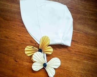 Baby Bonnet Hat - Baby Sun Hat - White