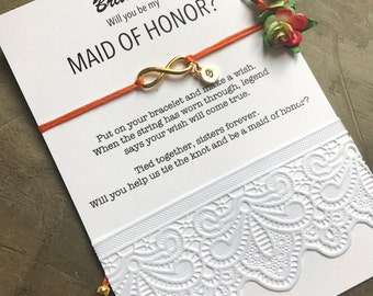Sister maid of honor,  Sister maid of honor proposal, Sister bracelet, Sister gift, Wedding sister gift, be my maid of honor,  B1a