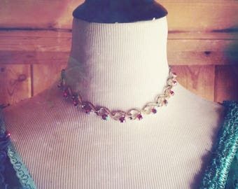 60s Romantic Pink Aurora Borealis Jeweled Gold Vintage Gypsy Choker/ Pink and Gold Choker/ Vintage Choker/ Unique Bohemian Choker/ Boho Chok