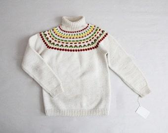 fair isle sweater | 70s sweater | white wool sweater