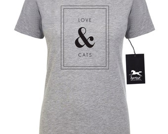 Love & Cats | Cat T Shirt | Feline | Cat Shirt | Women's Fitted Tee | Fashion Fit | Soft |