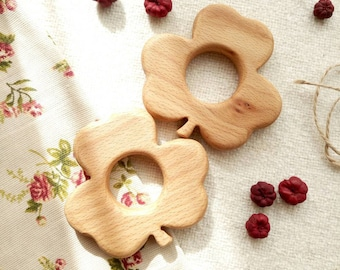 Baby teether. Shamrock Wooden teething toy. New Baby Toy.  Safe Infant Toy. Organic teether