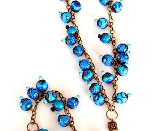 Blue long necklace, Blue necklace for women, Long beaded necklace, Blue beaded necklace, Blue jewelry, Boho necklace, Jewelry for women