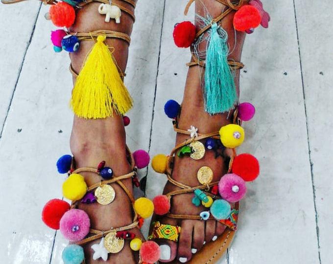 Pompom Greek sandals,gladiators tie up ,friendships, tassels,semiprecious stones,handmade  ethnic,boho, coins,evil eyes,women's sandals