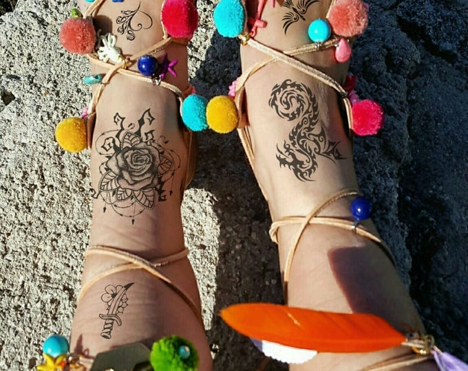 "Greek handmade sandals  ''LOLLIPOP "" pompoms gladiator sandals,tie up gladiator sandals,boho,ethnic,fringes sandals,feathers sandals"
