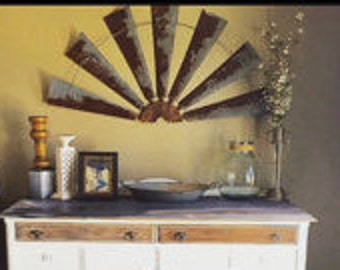Windmill Half Metal Industrial Farmhouse Wall Decor 47 Inch Makes Great Gift