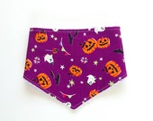 Cute, Halloween, purple, baby, bandana bib, orange pumpkins, bats, ghost