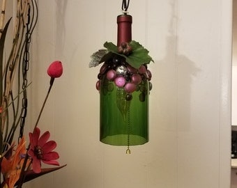 Hanging wine bottle lamp