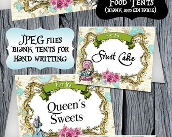 Alice in Wonderland Food Tents - Alice in Wonderland Food Labels - Alice Editable Tents - Printable Food Tent - Tented Labels - Alice Party