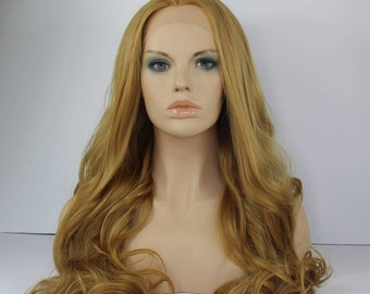 Honey Blonde Long Wavy / Curly Lace Front Synthetic Wig