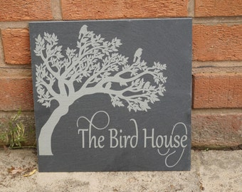 Slate house sign, shed sign, bird in tree sign,  personalised slate sign, bespoke house sign, house numbers, house sign, slate house plaque
