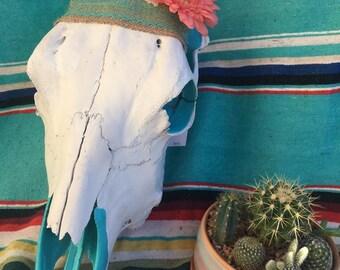 Flower headband Cow Skull art