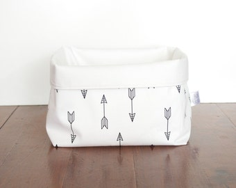 Arrow Storage Basket, Black and White Basket, Monochrome Storage Basket, Fabric Storage Basket, Storage Bin, Storage Sack