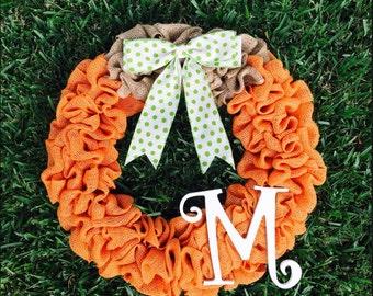 Pumpkin Wreath I Fall wreath I Pumpkin wreath I burlap fall wreath I Thanksgiving pumpkin wreath I Thanksgiving burlap wreath