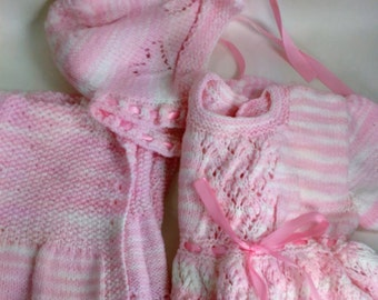 Hand Knitted Three Piece Infant /Doll Outfit/Dress, Coat And Hat/Pink And White With Pink (OR White) Ribbon See Details For Demenisions  (O)