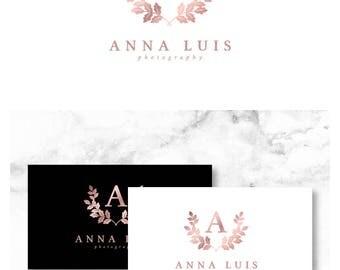 Rose Gold Letter Logo Design Branch Logo Oak Logo Design Feminine Logo Blog Branding