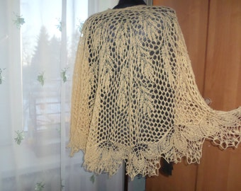 Bridesmaid Shawl Romantic Shawl Yellow Knitted Shawl Knit Lace Shawl Unique Wrap Yellow Bride Shawl Wedding Gift Idea Lace Scarf Cream Shawl