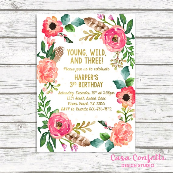 May The 4th Be With You Invitations: Young Wild And Three Birthday Invitation Wild And Three Boho