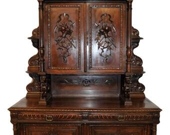 French Hunt Cabinet Large Impressive Model in Oak Solid Carved Doors 19th Century HUGE Lions #7097