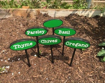 Herb Plant Markers, Gardening, Garden Markers, Plant Markers, Plant Identifier, Gifts for Gardeners, Gardening Gifts, Garden Stakes, Plant