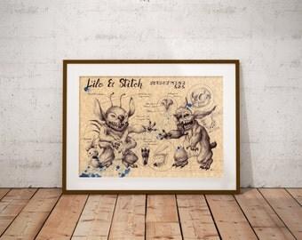 Medium - Stitch - Lilo & Stitch Art Print