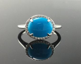 White Gold Diamond Halo Turquoise Engagement Ring- Oval Turquoise and Diamond Ring- East West Turquoise Diamond Halo Engagement Ring