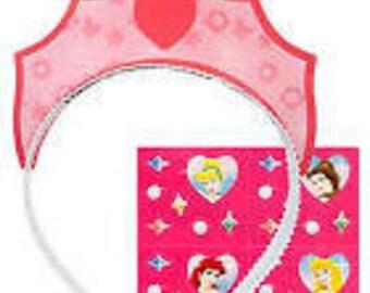 Disney Princess ''Fairy-Tale'' Paper Tiaras w/ Stickers 4ct