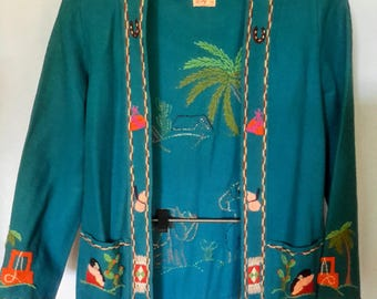 1950's blue wool Mexican tourist jacket by Berty, says size 34, size small/med.  In good shape overall