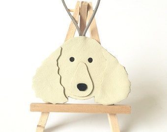 Leather Poodle Ornament Decoration - Poodle Gifts - Handmade in UK - Leather Dog Hanging Ornaments