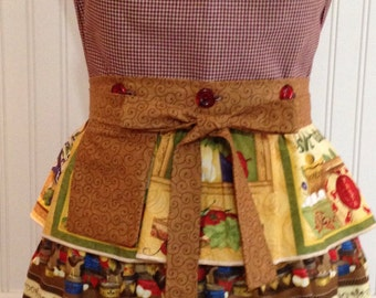 Vintage style full apron country roosters ruffled gingham check and  toile reversible button on bodice