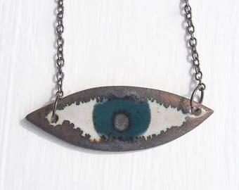 Handmade teal ceramic eye necklace, statement jewellery, teal statement necklace, ceramic eye jewellery,unique blue/green necklace, necklace