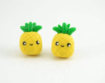 Pineapple Fruit Kawaii Adorable Stud earrings. Polymer clay earrings, pineapple clay earring