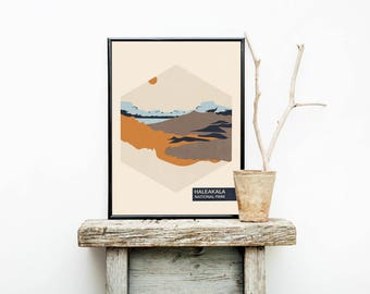 National Park Poster - Haleakala National Park - Minimalist Poster - Wall Hanging - Hawaiian Decor - National Park - Wall Decor - Art Prints