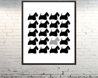 Black and White Dog Silhuete Printable Wall Art Decor Instant Download Print Home Deocr Gift Idea Minimalist  Modern Digital Art
