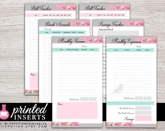 Printed Planner Inserts - Finance Planner - Income - Expense Tracker - Filofax Personal - Kikki K Medium - 3.75 x 6.75 - Design: Flirty Girl
