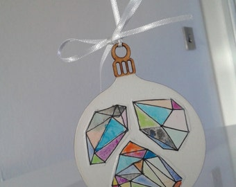 Wooden Christmas Bauble, Hand painted Tree Ornament, Geometric Christmas Decoration.
