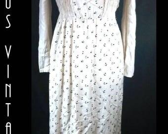 "UK 14 Vintage 1970s Cream Smocked Maxi Dress Ditsy Festival Boho Hippie EU 42 US 10 Bust 40"" 102cm"