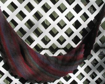 Asymmetrical Shawl Wool Multi Color Hand Knit Shawl