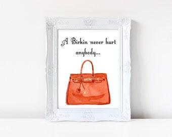 Hermes Birkin Fashion Illustration, Fashion Poster, Handbag Art, Home Decor Wall Art, Fashion Print, Printable Art, Fashion Wall Art