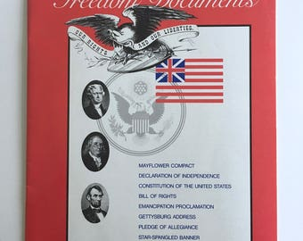 Constitution of the United States, America Freedom Documents Book, Declaration of Independence, Reproductions, Vintage Paperback Book, 1989