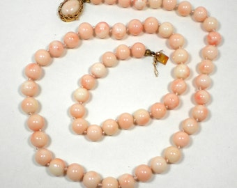 18K Angel Skin Coral Knotted Necklace
