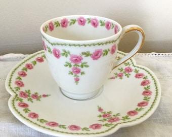 Haviland Limoges Teacup and Saucer GDA France - Demitasse and Saucer with Pink Floral Pattern