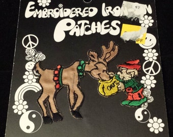 "Vintage 1996 Kalan Reindeer w/Santa's Elf Embroidered Iron-On Patch, 2-1/2"" x 3"""