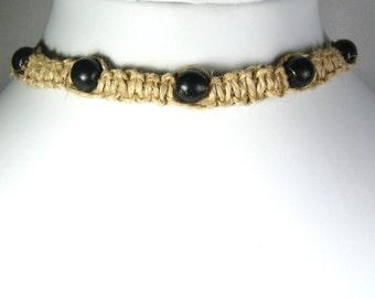 Handmade Flat Hemp Choker Necklace with Black Wood Beads