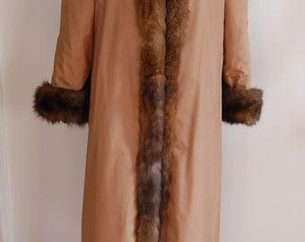 Women's Full Length Reversible Real Fur Raincoat Size 8