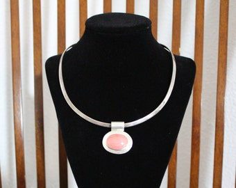 Vintage 925 Pink Coral Necklace with Silver Art 925 Choker **FREE SHIPPING**