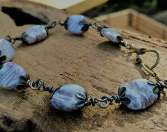 Ladies Jasper Bracelet, Handmade Purple FlowerJasper Stone Bracelet,One of a Kind Hand Forged Wire Jewelry Perfect Gift for Her