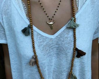 Multi Tassel Necklace (Neutral)
