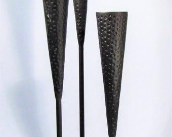 Mid-Century Modern Hammered Metal Candelabra Triad Candle Holder Brutalist Sculpture